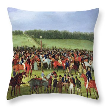 Epsom Races - The Betting Post Throw Pillow by James Pollard