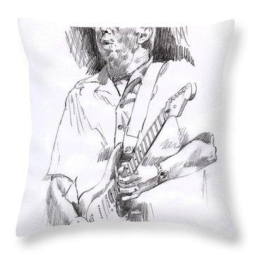 Eric Clapton Blue Throw Pillow by David Lloyd Glover