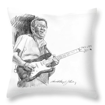 Eric Clapton Jam Throw Pillow by David Lloyd Glover