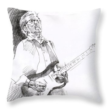 Eric Clapton Joy Throw Pillow by David Lloyd Glover