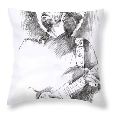 Eric Clapton Sustains Throw Pillow by David Lloyd Glover