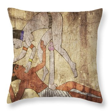 Erotic Drawing Looks Like Fresco Throw Pillow by Michal Boubin