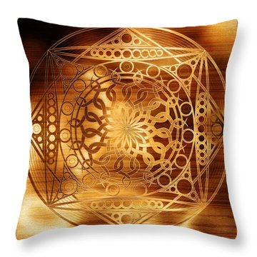 Eternity Mandala Golden Zebrawood Throw Pillow by Hakon Soreide