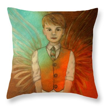 Ethan Little Angel Of Strength And Confidence Throw Pillow by The Art With A Heart By Charlotte Phillips