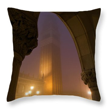 Evening At Piazza San Marcos, Venice Throw Pillow by Jim Richardson