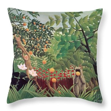 Exotic Landscape Throw Pillow by Henri Rousseau