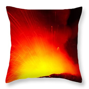 Exploding Lava At Night Throw Pillow by Peter French - Printscapes