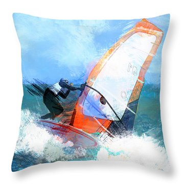 Expressionist Orange Sail Windsurfer  Throw Pillow by Elaine Plesser