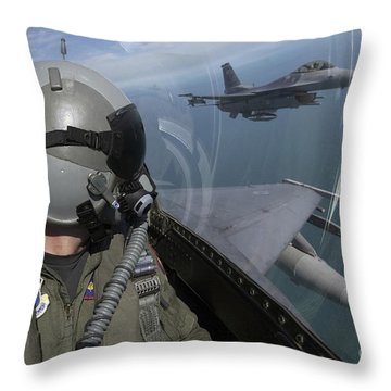 F-16 Fighting Falcons Flying Throw Pillow by Stocktrek Images