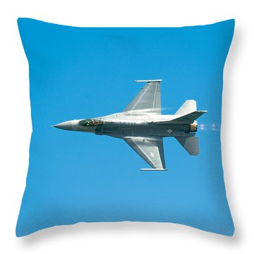 F-16 Full Speed Throw Pillow by Sebastian Musial