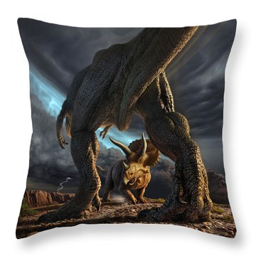 Face Off Throw Pillow by Jerry LoFaro