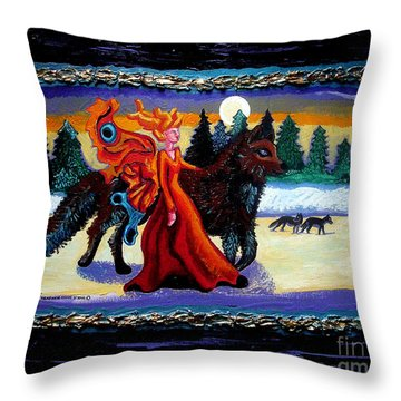 Faerie And Wolf Throw Pillow by Genevieve Esson