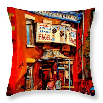 Fairmount Bagel Montreal Throw Pillow by Carole Spandau