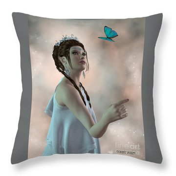 Fairy And Butterfly Throw Pillow by Corey Ford