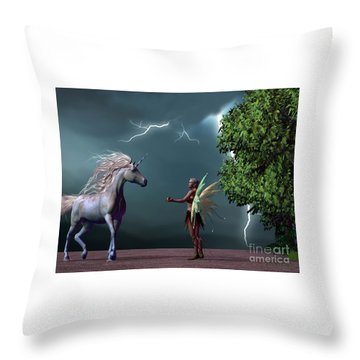Fairy And Unicorn Throw Pillow by Corey Ford
