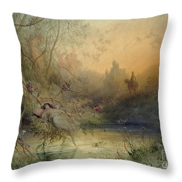Fairy Land Throw Pillow by Gustave Dore