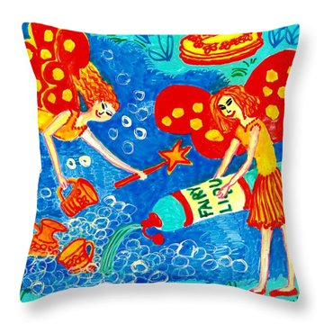 Fairy Liquid Throw Pillow by Sushila Burgess