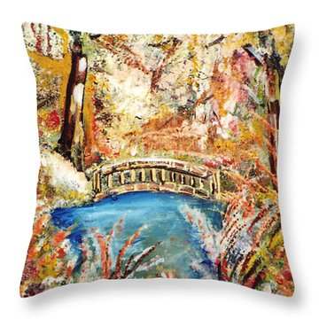 Fall Bridge Throw Pillow by John Keaton
