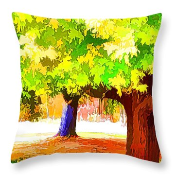 Fall Leaves Trees 1 Throw Pillow by Lanjee Chee