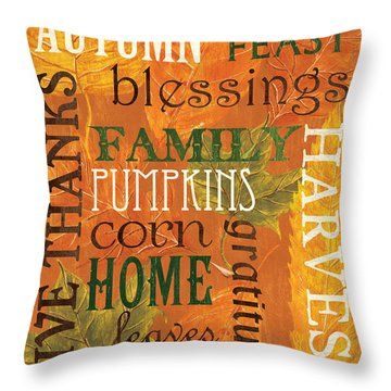 Fall Typography 1 Throw Pillow by Debbie DeWitt