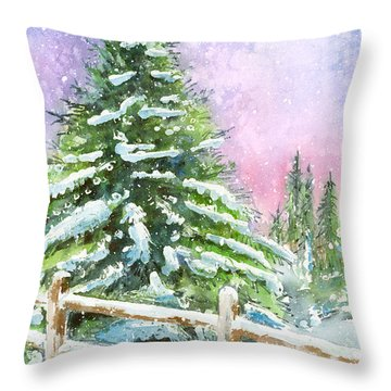 Falling Snowflakes Throw Pillow by Arline Wagner