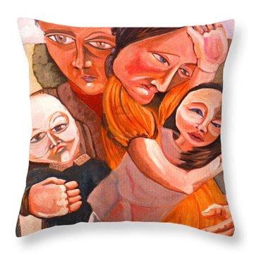 Family Struggle Throw Pillow by John Keaton