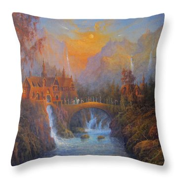 Farewell To Rivendell The Passing Of The Elves Throw Pillow by Joe  Gilronan