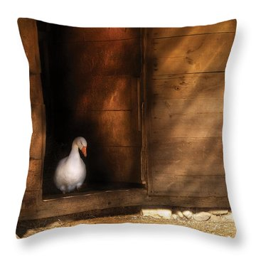 Farm - Duck - Welcome To My Home  Throw Pillow by Mike Savad