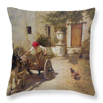 Farm Yard Scene Throw Pillow by Henry Herbert La Thangue