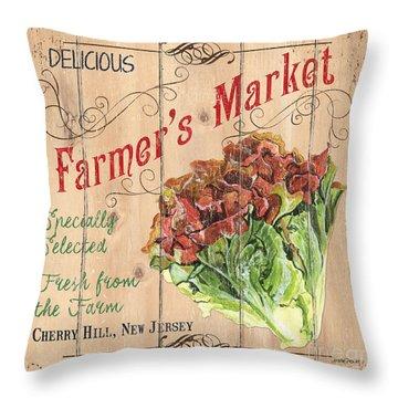 Farmer's Market Sign Throw Pillow by Debbie DeWitt