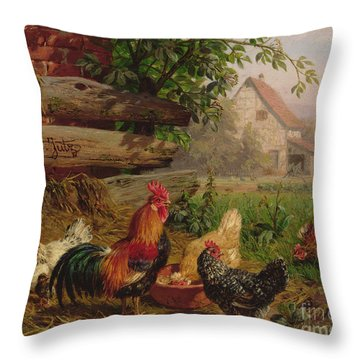 Farmyard Chickens Throw Pillow by Carl Jutz
