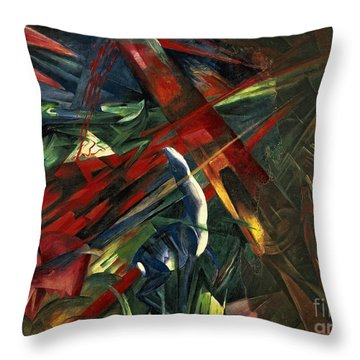 Fate Of The Animals Throw Pillow by Franz Marc