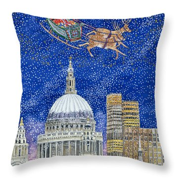 Father Christmas Flying Over London Throw Pillow by Catherine Bradbury