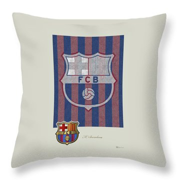 Fc Barcelona Logo And 3d Badge Throw Pillow by Serge Averbukh