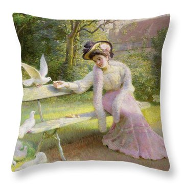 Feeding The Doves  Throw Pillow by Edmond Alphonse Defonte