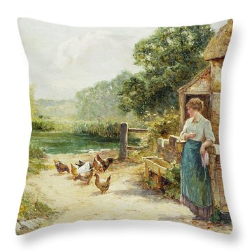 Feeding Time Throw Pillow by Ernest Walbourn