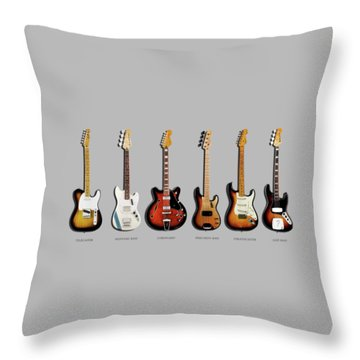 Fender Guitar Collection Throw Pillow by Mark Rogan