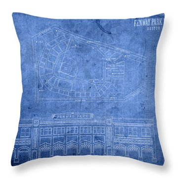 Fenway Park Blueprints Home Of Baseball Team Boston Red Sox On Worn Parchment Throw Pillow by Design Turnpike