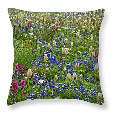 Field Of Wildflowers Throw Pillow by Greg Vaughn - Printscapes