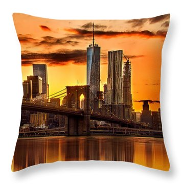 Fiery Sunset Over Manhattan  Throw Pillow by Az Jackson