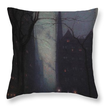 Fifth Avenue At Twilight Throw Pillow by Lowell Birge Harrison