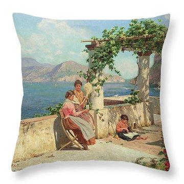 Figures On A Terrace In Capri  Throw Pillow by Robert Alott