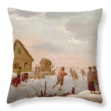 Figures Skating In A Winter Landscape Throw Pillow by Hendrik Willem Schweickardt