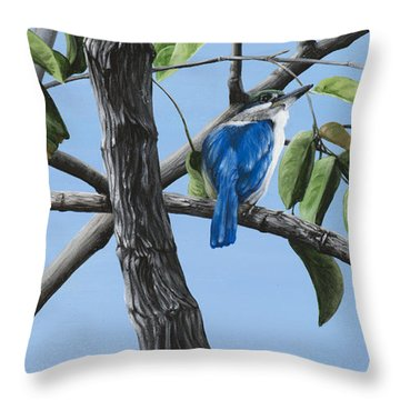 Filipino Kingfisher Throw Pillow by Wendy Ballentyne