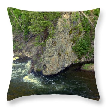 Fin On The Firehole Throw Pillow by Marty Koch