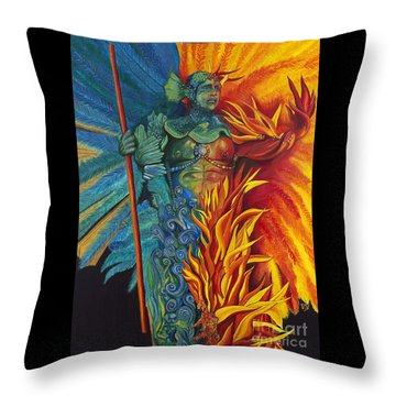 Fire And Water Carnival Figure Throw Pillow by Patty Vicknair