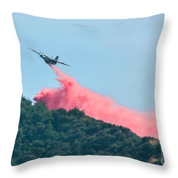 Fire Bomber Drop Throw Pillow by Tommy Anderson
