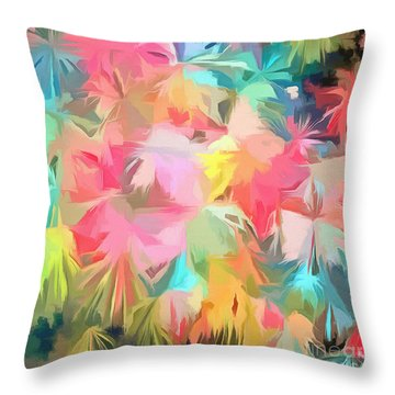 Fireworks Floral Abstract Square Throw Pillow by Edward Fielding