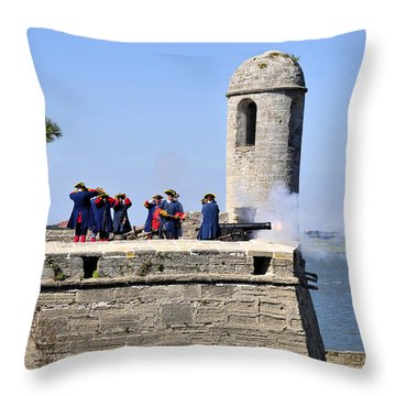 Firing On The British Throw Pillow by David Lee Thompson