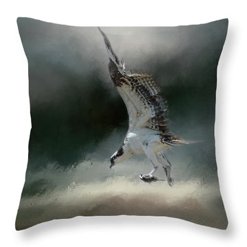 First Catch Of The Morning Osprey Art By Jai Johnson Throw Pillow by Jai Johnson
